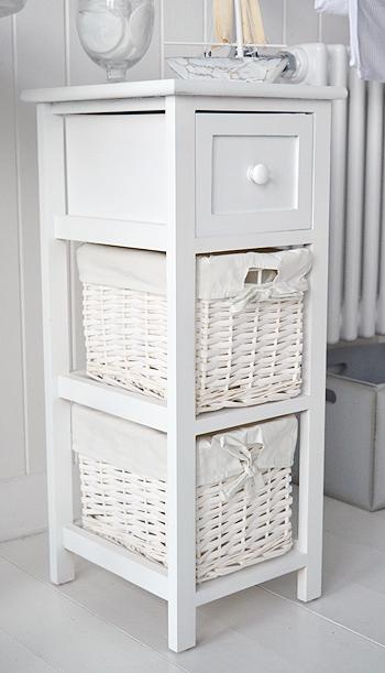 Bar Harbor Narrow White Bathroom Cabinet 25cm Wide
