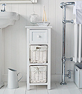 Bar Harbor white narrow bathroom storage cabinet furniture 25cm