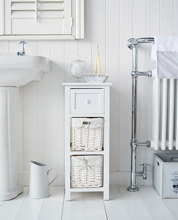 Bar Harbor white bathroom storage with baskets