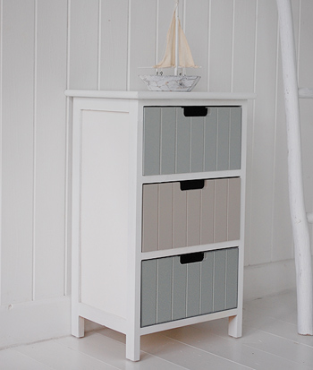 Beach free standing bathroom cabinet furniture with 3 drawers for White bathroom cabinets free standing