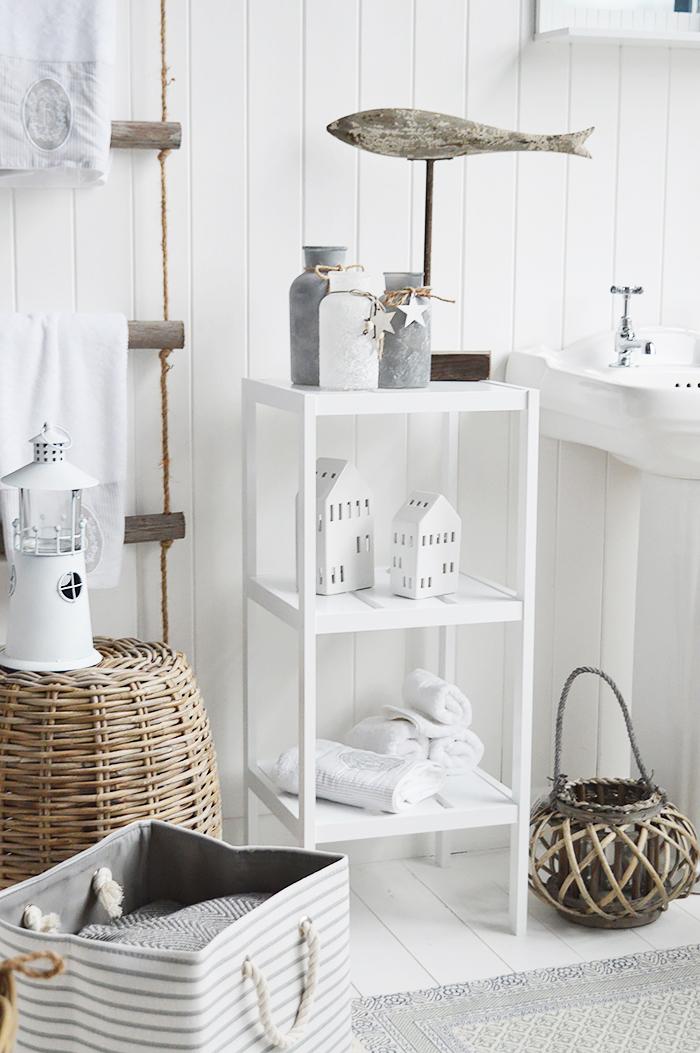 White Coastal Bathroom Furniture. Brighton white three tier bathroom shelf unit. Bathroom shelves for storage from The White LIghthouse Furniture for New England, country, coastal and city home interiors
