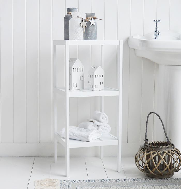 Brighton white bathroom shelves