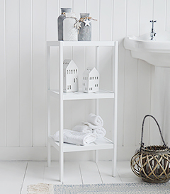 Bathroom Hooks and Shelves. White Storage furniture for New England, coastal, nautical and cottage bathrooms