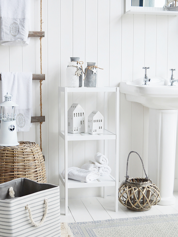 Brighton white three tier bathroom shelf unit. Bathroom shelves for storage from The White LIghthouse Furniture for New England, country, coastal and city home interiors