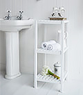 Brighton white bathroom shelf unit with 3 shelves