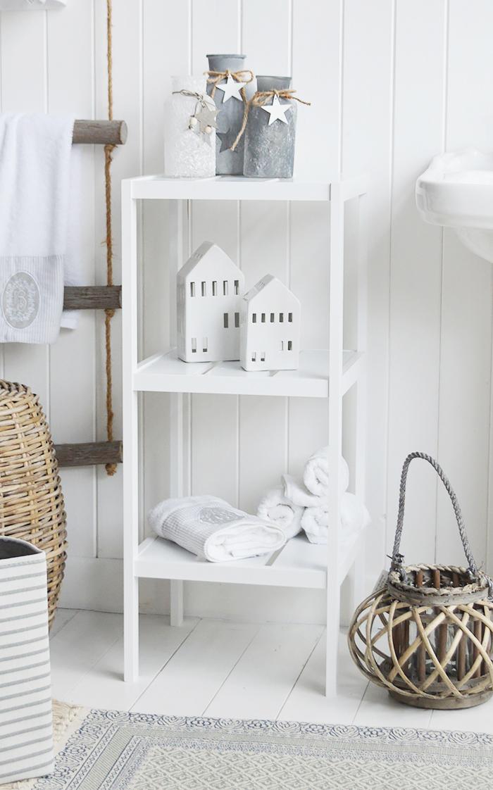 Brighton white bathroom shelf unit with 4 shelves for storage