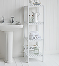 Brighton white bathroom shelf unit with 4 shelves