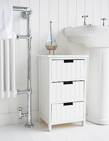 Brighton 3 drawer white bathroom furniture