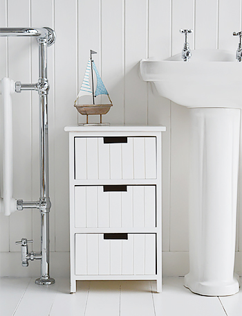 Brighton white bathroom cabinet furniture with drawers for White wooden bathroom drawers
