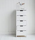 Brighton white bathroom furniture. Tall cabinet with 5 drawers