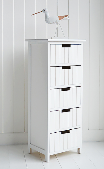 Brighton white bathroom cabinet with 5 drawers