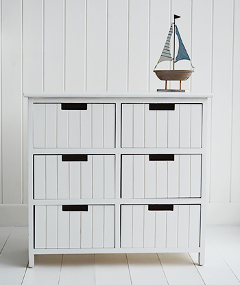 Brighton white bathroom storage furniture with 6 drawers