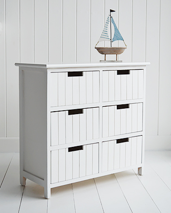 Brighton white bathroom storage furniture with 6 drawers storage