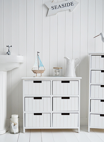 The White Lighthouse Brighton white bathroom storage furniture with 6 drawers