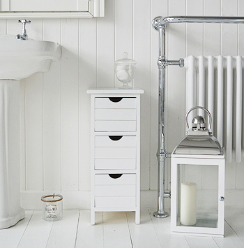 Dorset narrow white free standing bathroom storage furniture 25cm wide