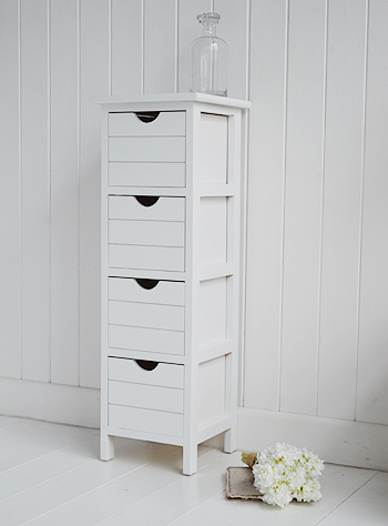 Dorset narrow free standing bathroom cabinet with 4 storage drawers side view 25cm wide