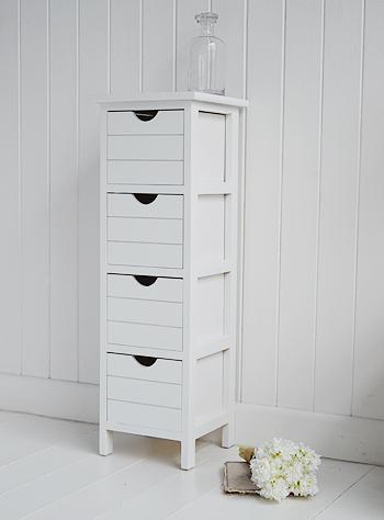 Dorset 25cm wide narrow white bathroom storage furnitue ...