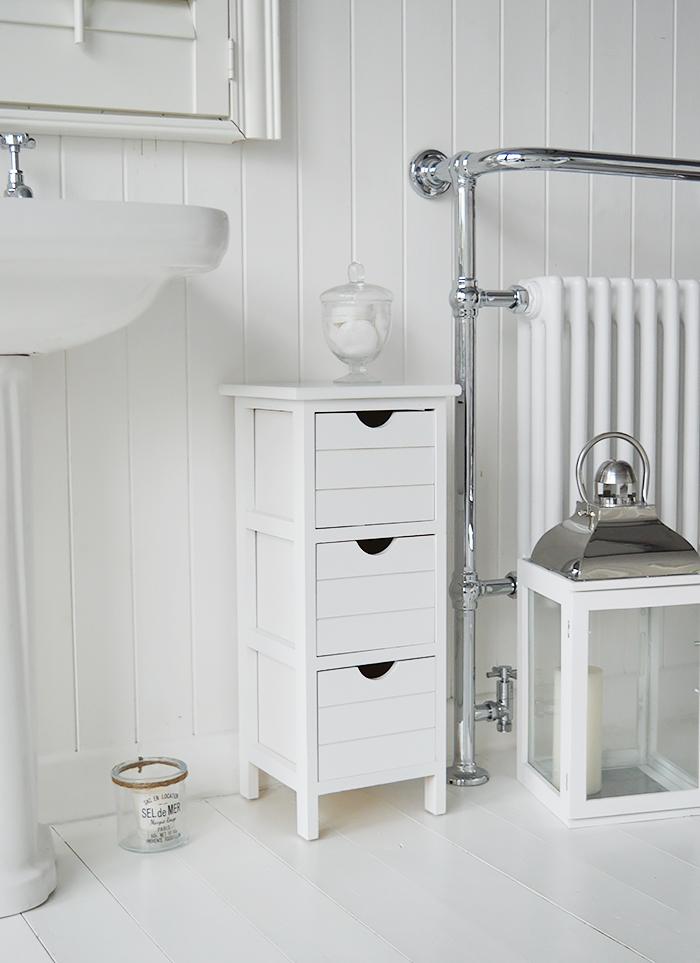21cm Wide Narrow White Bathroom Storage, White Storage Furniture Uk