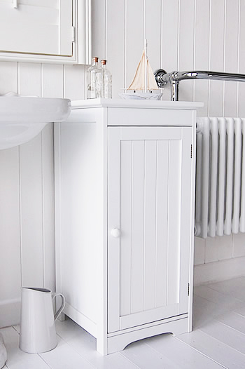 White Freestanding Bathroom Storage With Knob Handle Cabinet