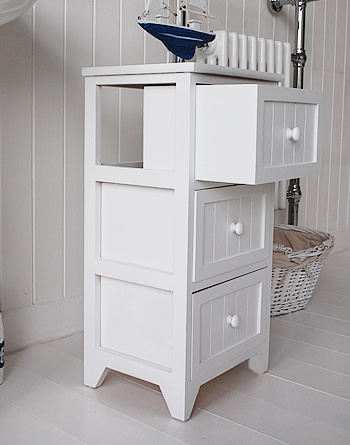 Maine white bathroom cabinet with 3 drawers for simple bathroom storage