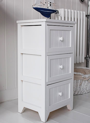 Maine slim freestanding bathroom cabinet with 3 drawers for White wooden bathroom drawers
