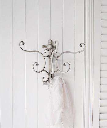 Bathroom Wall Hangers : Grey bathroom wall hooks - French Coastal white bathroom furniture