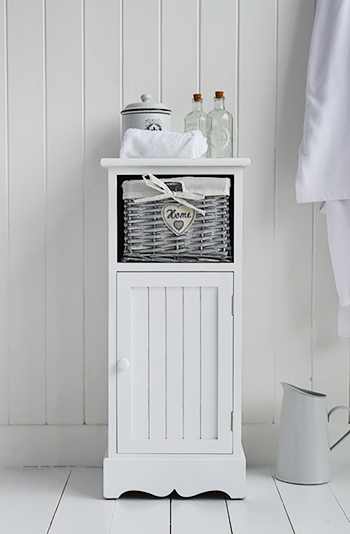 hampshire white bathroom storage slim cabinet