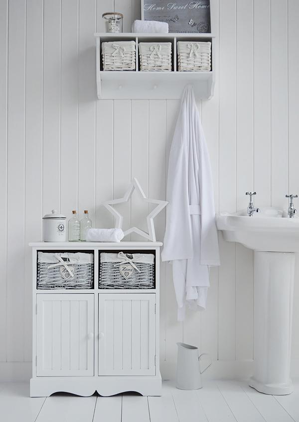 White Bathroom Double Vanity: Grey Storage Bench Wooden Shabby Chic