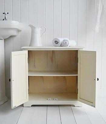 Hamptons Cream Bathroom Cabinet With Small Cupboard