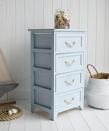 Huntington Beach Pale  Blue bathroom cabinet with 4 drawers for coastal nautical design