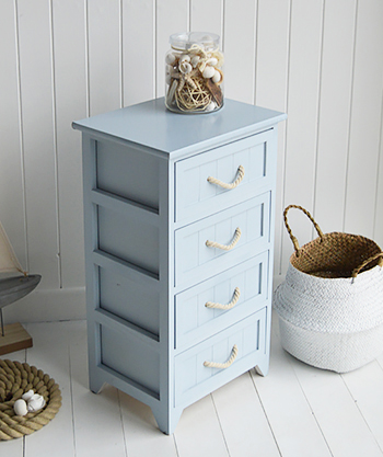 Huntington Beach Pale  Blue bathroom cabinet with 4 drawers all with rope handles