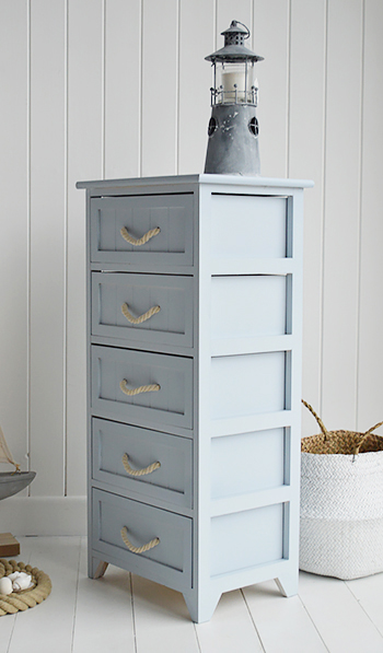 Huntington Pale Blue Bathroom Cabinet with rope drawers for nautical bathrooms