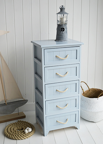 Tall Huntington Pale Blue Bathroom Cabinet with 5 drawers for nautical bathrooms
