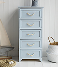 Huntington Beach Nautical Coastal 5 Drawer bathroom Drawers