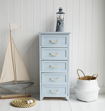 Huntington Pale Blue Bathroom Cabinet with drawers for nautical bathrooms