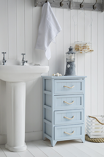 Huntington nautical blue and white bathroom interior