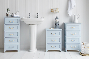 Huntington nautical bathroom furniture with drawers from The White Lighthouse