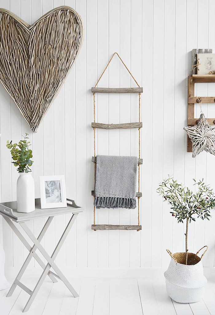 Rope blanket ladder for New England inspired living rooms