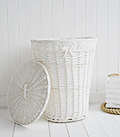 White Laundry basket with lid