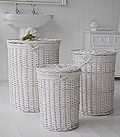 Set of laundry baskets in white