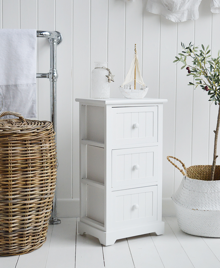 Maine Three drawer white bathroom cabinet. Storage furniture for the New England styled bathroom in country, coastal and city home interiors. How to decorate a bathroom