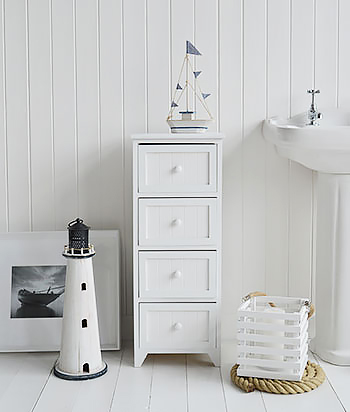 Maine Narrow Freestanding Bathroom Cabinet With 4 Drawers For Storage