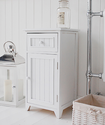Maine white bathroom cupboard with drawer