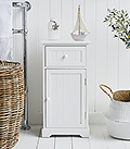 Maine white bathroom cabinet with cupboard and drawer