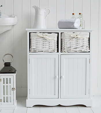 Maine white bathroom cabinet with two cupboards and white basket drawers for a typical coastal nautical bathroom