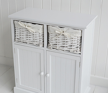 Maine coastal bathroom furniture, double cupboard with basket drawers