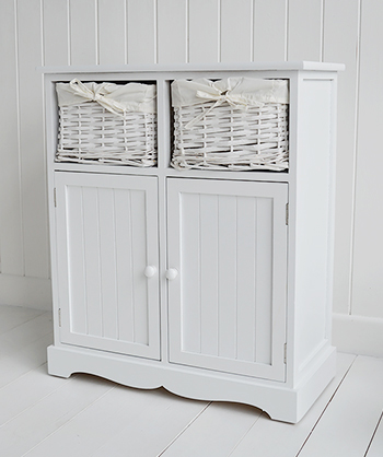 Maine white console table  with 2 cupboards and basket drawers for hallway and living room furniture