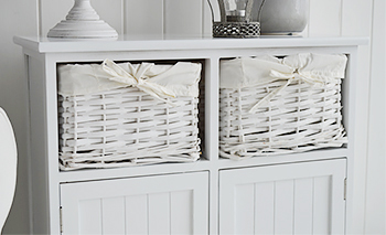 Maine white console table  with 2 cupboards and basket drawers for hallway furniture