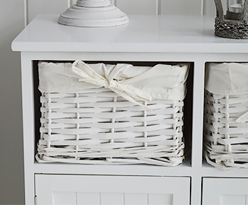 Maine white console table  with 2 cupboards and basket drawers for hall furniture