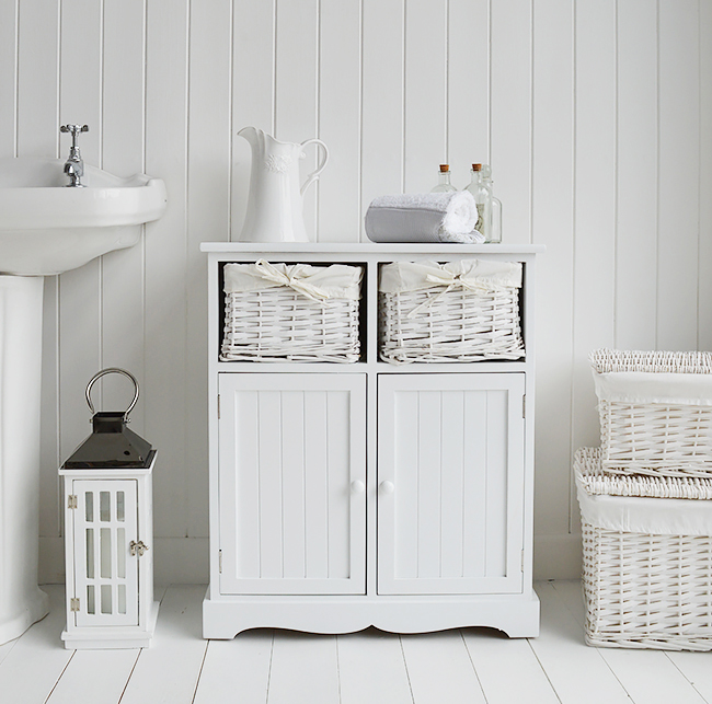 Maine white cabinet with basket drawers